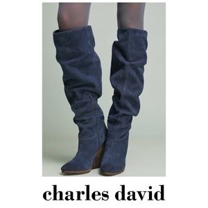 New Charles David Blue Suede Slouch Wedge Boots